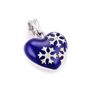 Faberge Victor Mayer Diamonds Blue Enamel 18k Gold Heart Pendant