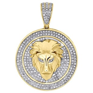 10k Yellow Gold Real Diamond Cirlce Medallion 3d Lion Head Pendant Charm 0.48 Ct