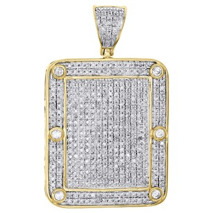 10k Yellow Gold Diamond Iced Out Dogtag Pendant Square Frame Pave Charm 1.17 Ct