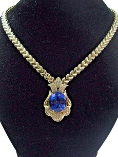 Fine Gem Tanzanite Diamond Yellow Gold Necklace 17 20.52ct Aaaavs