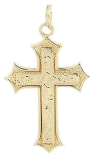 Etched Cross Pendant - 14k Yellow Gold Faith Gift
