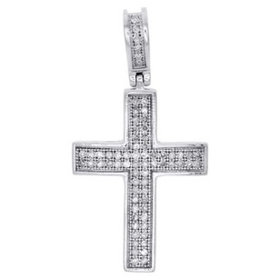 Other 10k White Gold Genuine Diamond Dome Cross Mini Pendant 1.20 Pave Charm 0.25 Ct.