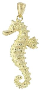 Other Seahorse Pendant - 14k Yellow Gold Textured Ocean Life Nautical