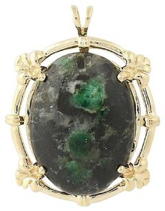 Other Emerald In Matrix Pendant - 14k Yellow Gold Cabochon Cut Solitaire