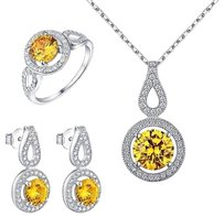 Canary Solitaire Wedding Ring Tear Drop Earrings Pendant Necklace 925 Silver