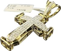 14k,Yellow,Gold,Si,Pave,Diamond,Cross,Pendant,.86,Ct