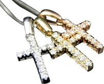 14k,Gold,Ladies,Overlapping,Tri,Color,Diamond,Mini,Cross,Pendant,Charm,Chain,1ct