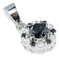 10k,White,Gold,Ladies,Womens,Round,Cut,Black,Diamond,Pendant,Charm,.51,Ct