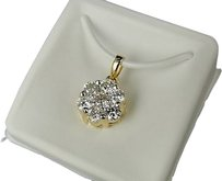 14k,Gold,Ladies,White,Diamond,Flower,Pendant,Charm,1,Ct