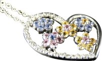 Other 14k,White,Gold,Genuine,Diamond,And,Sapphire,Multicolor,Heart,Pendant,And,Chain