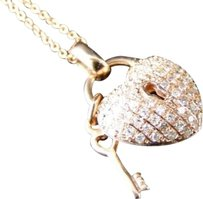 14k,Rose,Gold,Genuine,Real,Diamond,Heart,Pendant,And,Chain