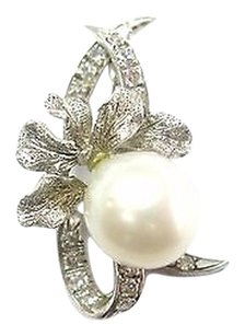18kt,Cream,Pearl,Diamond,Pendant,Solid,White,Gold,.16ct,9.4mm