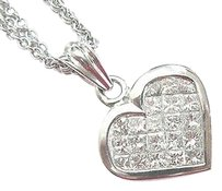 Other 18kt,Princess,Cut,Invisible,Set,Diamond,Pendant,Necklace,White,Gold,1.03ct