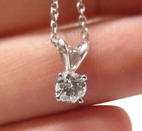 18kt,Round,Cut,Diamond,Solitaire,Pendant,Necklace,Ags,.53ct,I-vs1,White,Gold