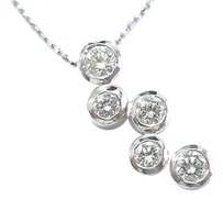 Other Fine Round Cut Diamond Bubble Pendant Necklace .70ct 16