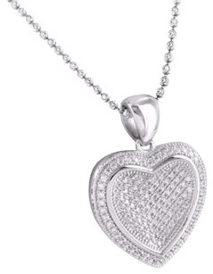 Mens .925 Sterling Silver Iced Out Simulated Diamond Heart Pendant Necklace Set
