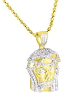 Simulated Diamond Jesus Religious Pendant Moon Cut Chain 14k Gold Finish .925