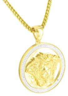 Yellow Gold Finish Over Sterling Silver Medusa Face Pendant Real Lab Diamond