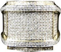 Mens,10k,Yellow,Gold,Round,Cut,Diamond,Pave,Set,Xl,Pinky,Band,Ring,1.58,Ct