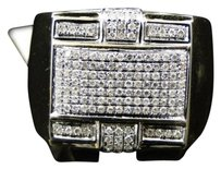 Mens,10k,Yellow,Gold,Round,Cut,Diamond,Pave,Designer,Pinky,Band,Ring,.75,Ct