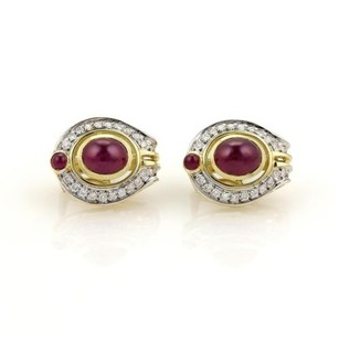 Other Estate 10.15ct Ruby Diamond 18k Yellow Oval Huggie Post Clip Earrings