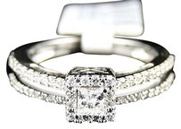 14k,Ladies,White,Gold,Princess,Cut,Diamond,Bridal,Engagement,Ring,Set,0.52,Ct