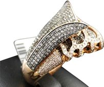 14k,Ladies,Womens,Rose,Gold,Round,Cut,Xl,Brown,Diamond,Designer,Fashion,Ring