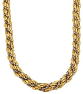 Other 18k Yellow White Gold Fancy Twisted Rope Design Necklace 28 64grams