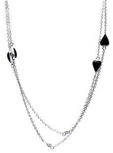 Solid Sterling Silver Black Onyx Heart Necklace Pendant