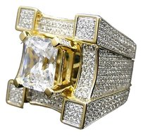 Mens 925 Sterling Silver Yellow Simulated Lab Diamond 3d Solitaire Ring