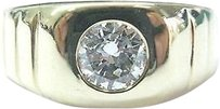 Fine Mens Round Brilliant Diamond Yellow Gold Ring .70ct G-vs1