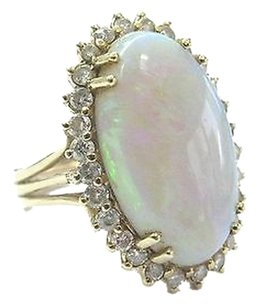 Other Fine Opal Diamond Solitaire W Accent Yellow Gold Ring 6.34ct