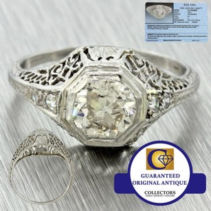 Other 1920s Antique Art Deco Platinum Filigree .90ct Diamond Engagement Ring