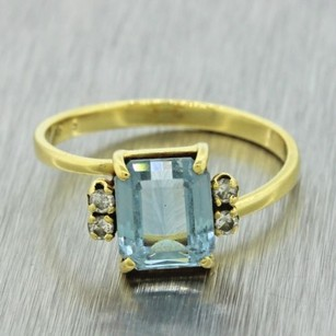 Vintage Retro Estate Womens 14k Yellow Gold Aquamarine Diamond Ring