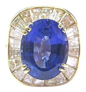 18kt Gem Tanzanite Diamond Ballerina Yellow Gold Ring 6.75ct F-vvs2