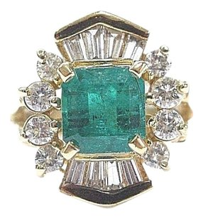 Other Fine Gem Colombian Green Emerald Diamond Yellow Gold Ring 14kt 1.89ct