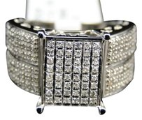 Ladies,10k,White,Gold,Pave,Diamond,Engagement,Wedding,Bridal,Fashion,Ring,.62,Ct
