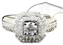 14k,Womens,White,Gold,Round,Cut,Halo,Solitaire,Diamond,Engagement,Ring,1.04,Ct