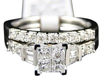 14k,White,Gold,Ladies,Princess,Diamond,Wedding,Engagement,Duo,Ring,Set,1.00ct