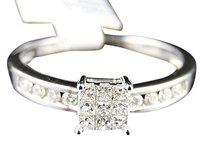 14k,White,Gold,Ladies,Womens,Engagement,Princess,Diamond,Wedding,Band,Ring,.25ct