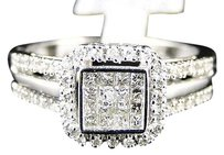 10k,White,Gold,Ladies,Womens,Engagement,Princess,Diamond,Wedding,Band,Ring,.25ct