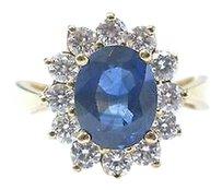 18kt,Gem,Sapphire,Diamond,Anniversary,Jewelry,Ring,Yg,3.86ct