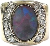 Fine Opal Diamond Wide Jewelry Ring Yg 14kt 2.50ct