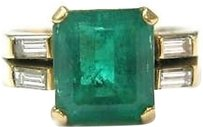 Fine,18kt,Gem,Green,Emerald,Diamond,Ring,4.40ct,