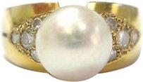 Fine,18kt,Pearl,Diamond,Anniversary,Ring,9.4mm