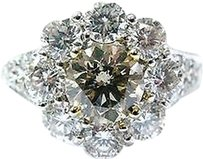 18kt,Round,Cut,Diamond,Flower,Champagne,Anniversary,Ring,Wg,2.96ct