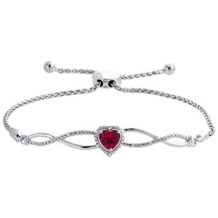 120 Ct. Created Ruby Diamond Infinity Heart Bolo Bracelet Sterling Silver 8