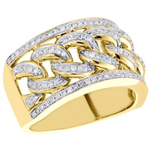 10k Yellow Gold Miami Cuban Link Mens Real Diamond Pave Pinky Ring Band 0.80 Ct.