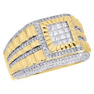 Other 10k Yellow Gold Princess Cut Diamond Fluted Step Shank Pinky Ring Band 1.25 Ct.