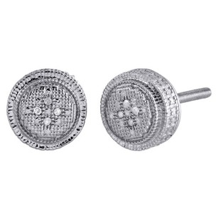 .925 Sterling Silver Diamond 3d Studs Illusion Set 8mm Circle Earrings 0.02 Ct